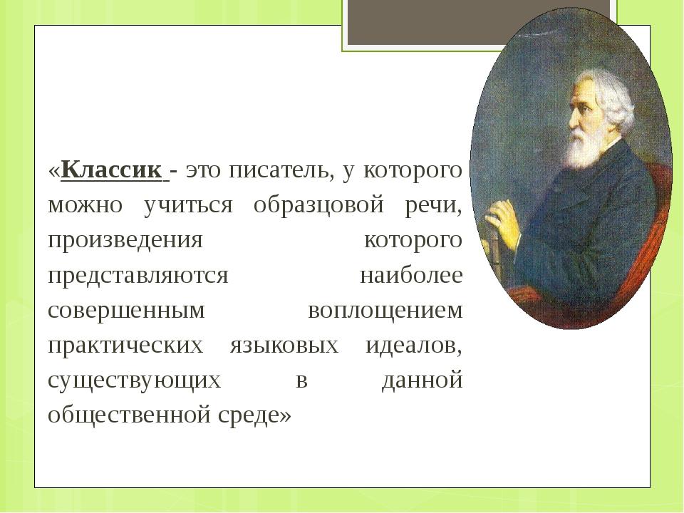 «Классик - это писатель, у которого можно учиться образцовой речи, произведе...