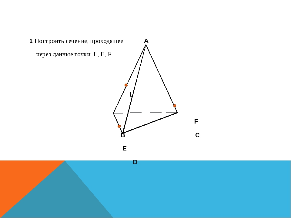 1 Построить сечение, проходящее A через данные точки L, E, F. L F B C E D