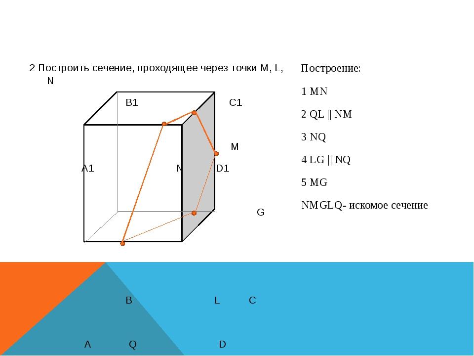 2 Построить сечение, проходящее через точки M, L, N B1 C1 M A1 N D1 G B L C...