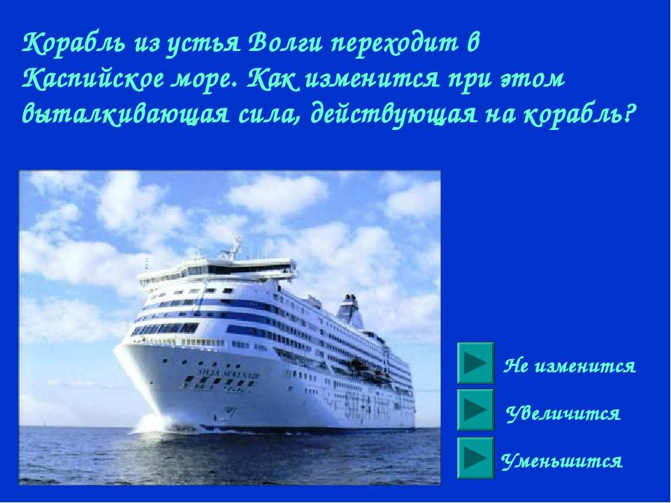 Корабль из устья Волги переходит в Каспийское море. Как изменится при этом вы...