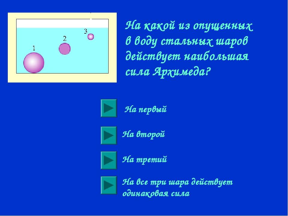 На какой из опущенных в воду стальных шаров действует наибольшая сила Архимед...