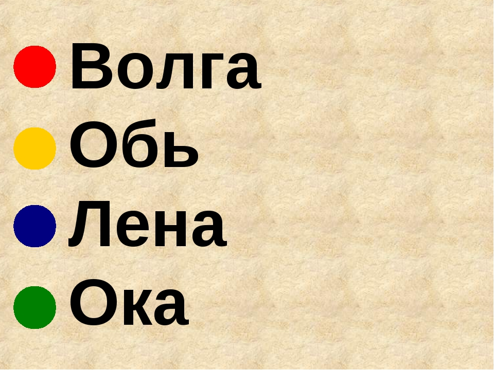 Волга Обь Лена Ока