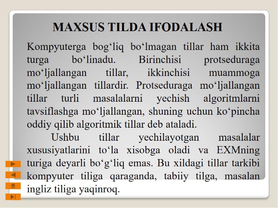 MAXSUS TILDA IFODALASH