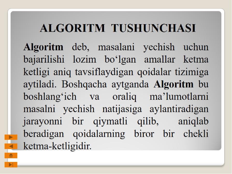 ALGORITM TUSHUNCHASI