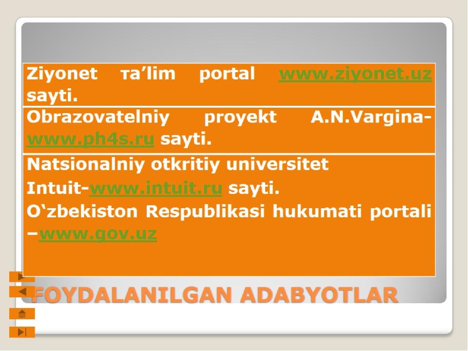 FOYDALANILGAN ADABYOTLAR