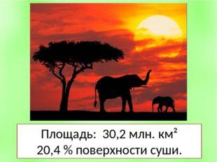 Площадь: 30,2 млн. км² 20,4 % поверхности суши.