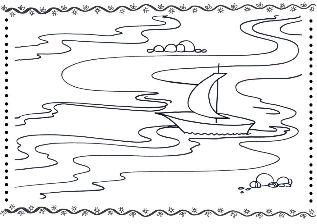 Картинка река для детей раскраска