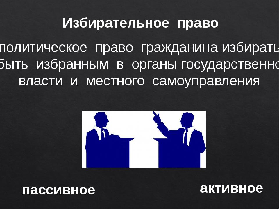 Избирательное право политическое право гражданина избирать и быть избранным в...