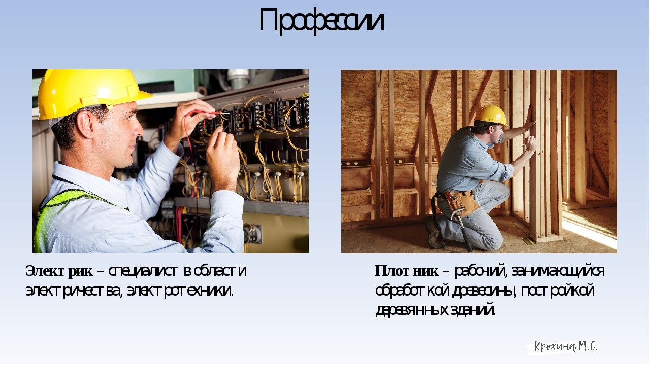 Профессии Электрик – специалист в области электричества, электротехники. Плот...