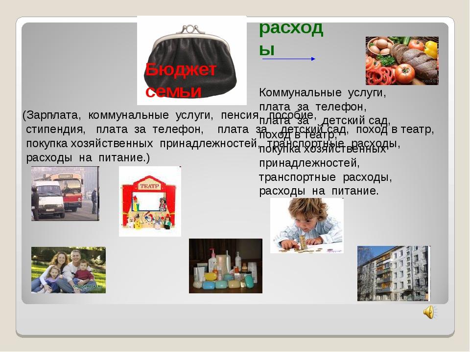 расходы (Зарплата, коммунальные услуги, пенсия, пособие, стипендия, плата за...