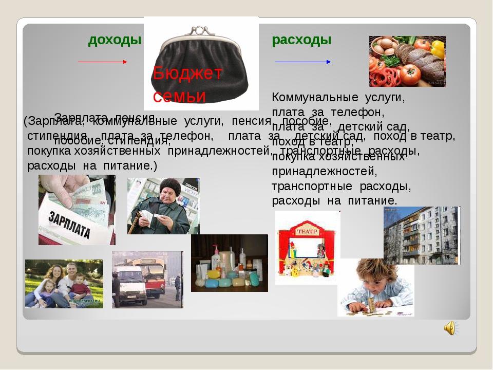 доходы расходы (Зарплата, коммунальные услуги, пенсия, пособие, стипендия, п...