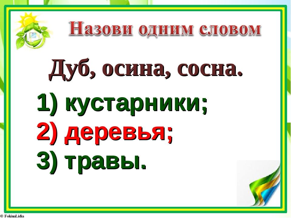 1) кустарники; 2) деревья; 3) травы. Дуб, осина, сосна.