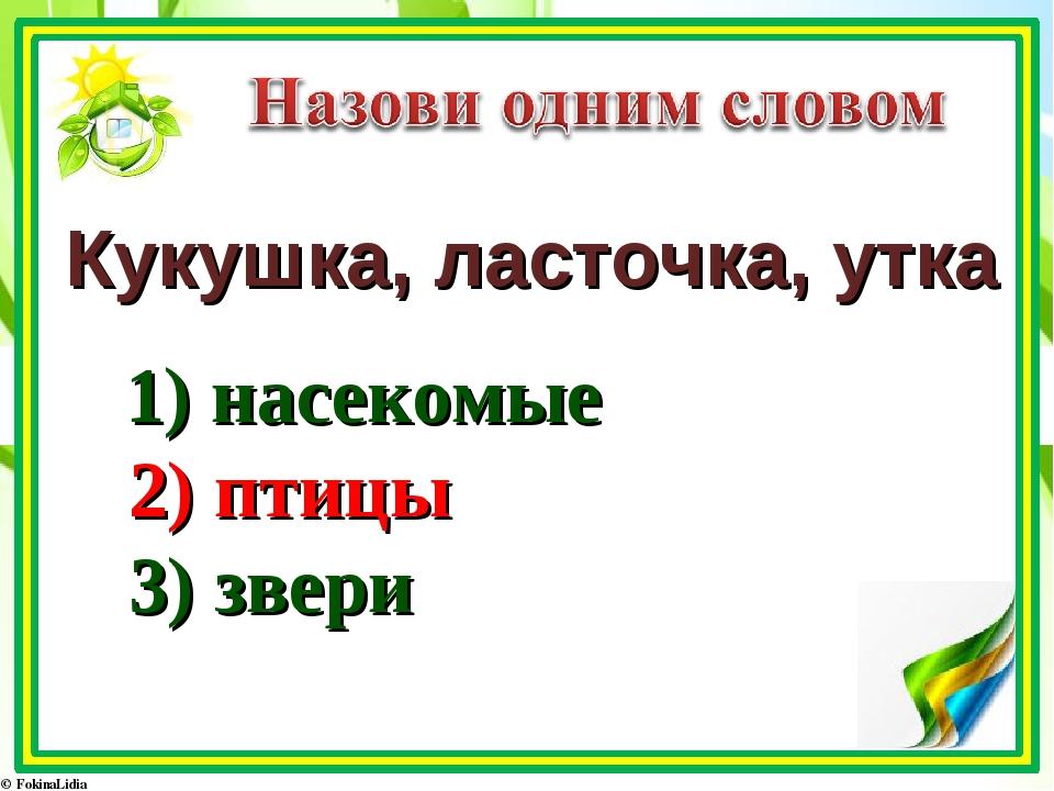 Кукушка, ласточка, утка 1) насекомые 2) птицы 3) звери