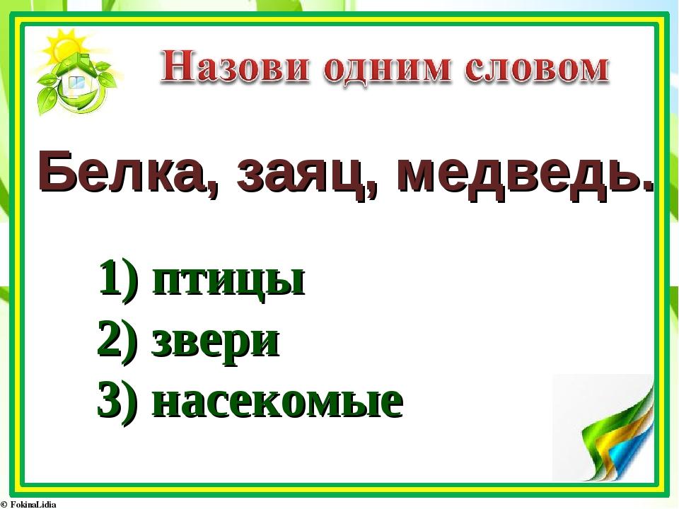 Белка, заяц, медведь. 1) птицы 2) звери 3) насекомые