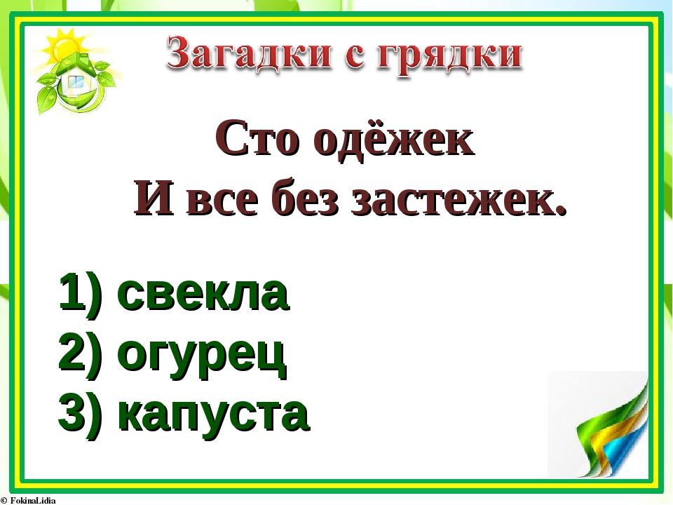 Сто одёжек И все без застежек. 1) свекла 2) огурец 3) капуста
