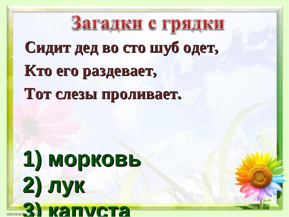 1) морковь 2) лук 3) капуста Сидит дед во сто шуб одет, Кто его раздевает, То...