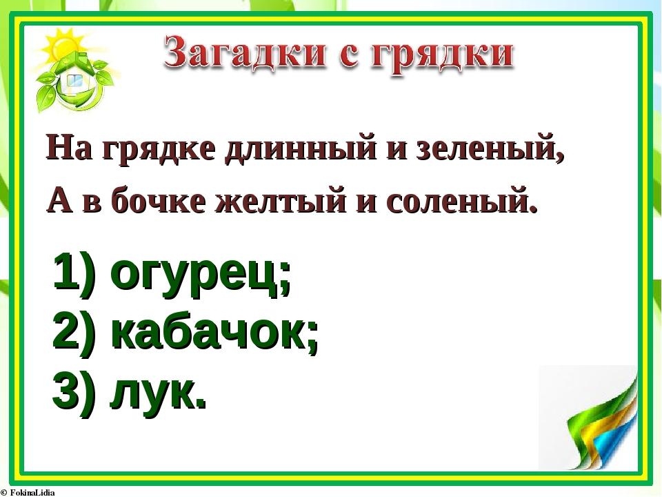 1) огурец; 2) кабачок; 3) лук. На грядке длинный и зеленый, А в бочке желтый...