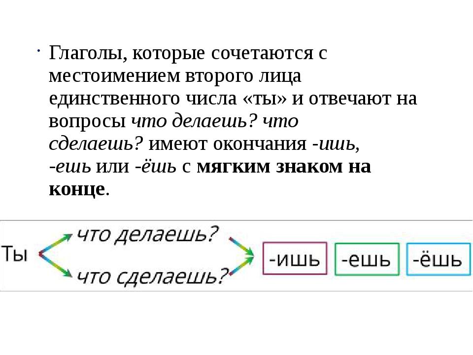 Глаголы, которые сочетаются с местоимением второго лица единственного числа «...