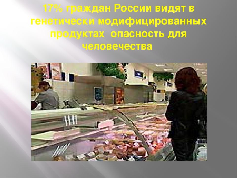 17% граждан России видят в генетически модифицированных продуктах опасность д...