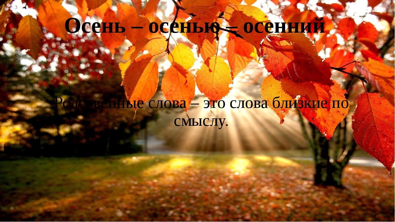 Осень – осенью – осенний Родственные слова – это слова близкие по смыслу.