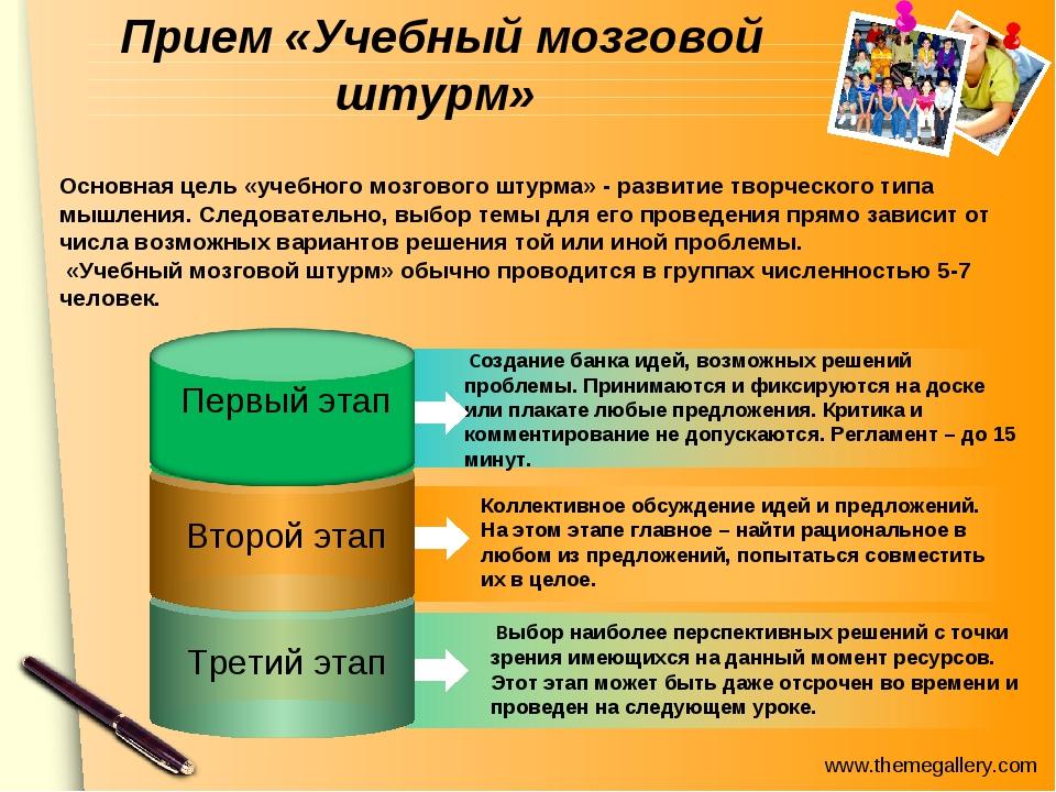 Прием «Учебный мозговой штурм»  Создание банка идей, возможных решений пробл...