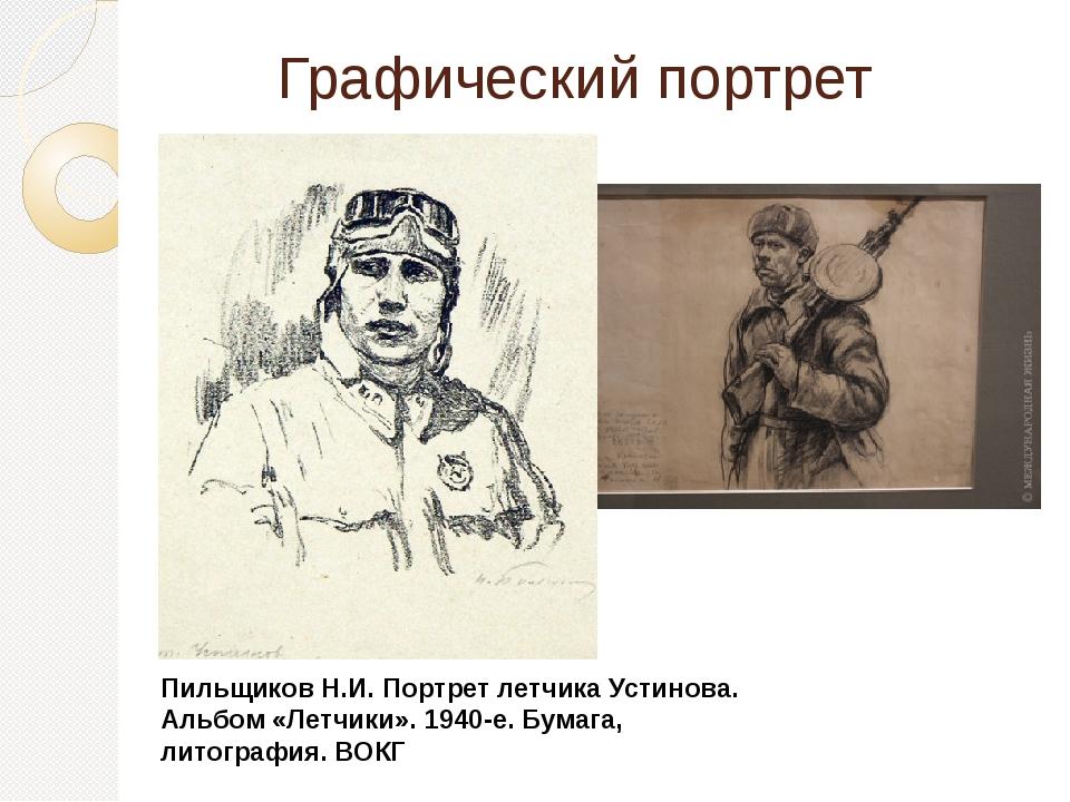 Графический портрет Пильщиков Н.И. Портрет летчика Устинова. Альбом «Летчики»...