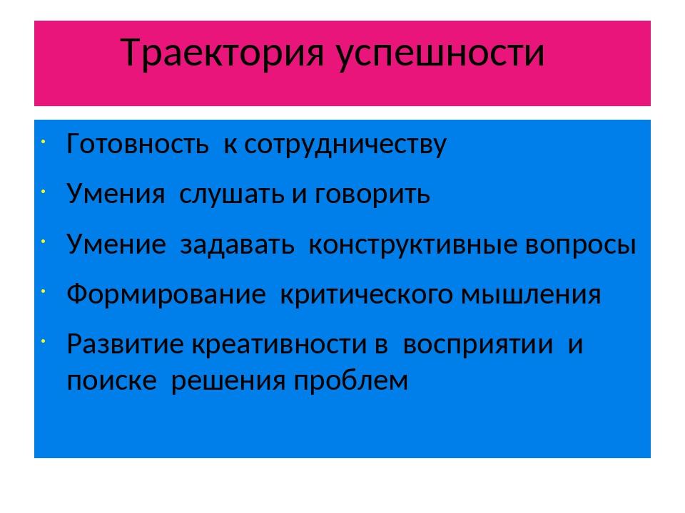Траектория успешности Готовность к сотрудничеству Умения слушать и говорить У...