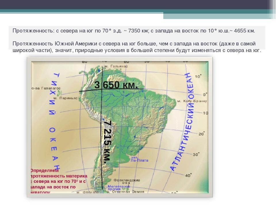 Протяженность: с севера на юг по 70° з.д. ~ 7350 км; с запада на восток по 10...