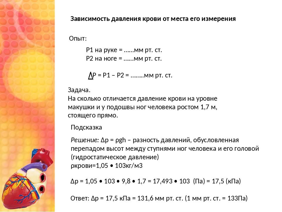 Зависимость давления крови от места его измерения Р1 на руке = ……мм рт. ст. Р...