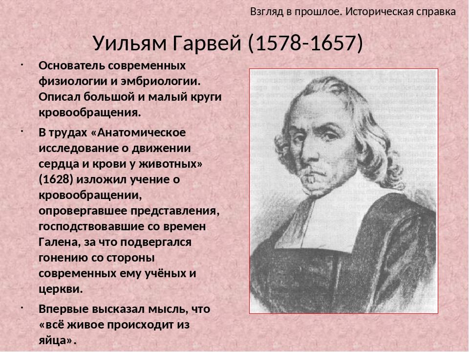 Уильям Гарвей (1578-1657) Основатель современных физиологии и эмбриологии. Оп...