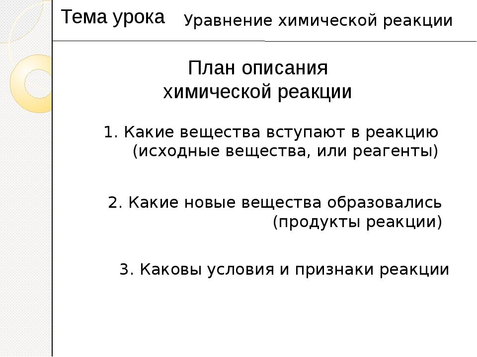 План описания химической реакции Тема урока Уравнение химической реакции 1. К...