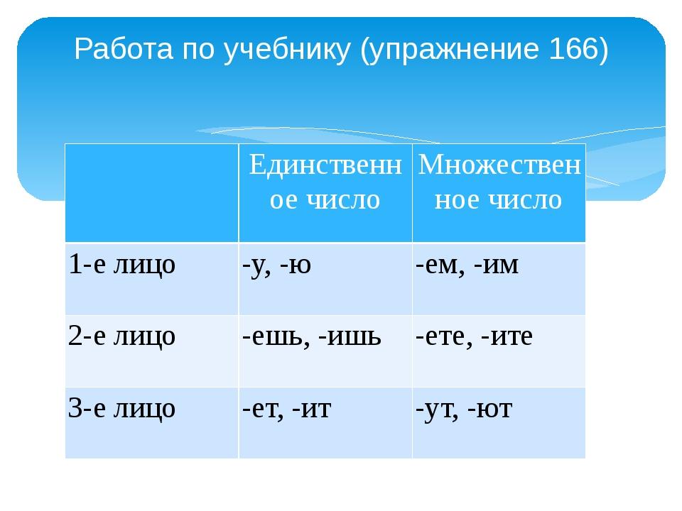 Работа по учебнику (упражнение 166) Единственное число Множественное число 1-...