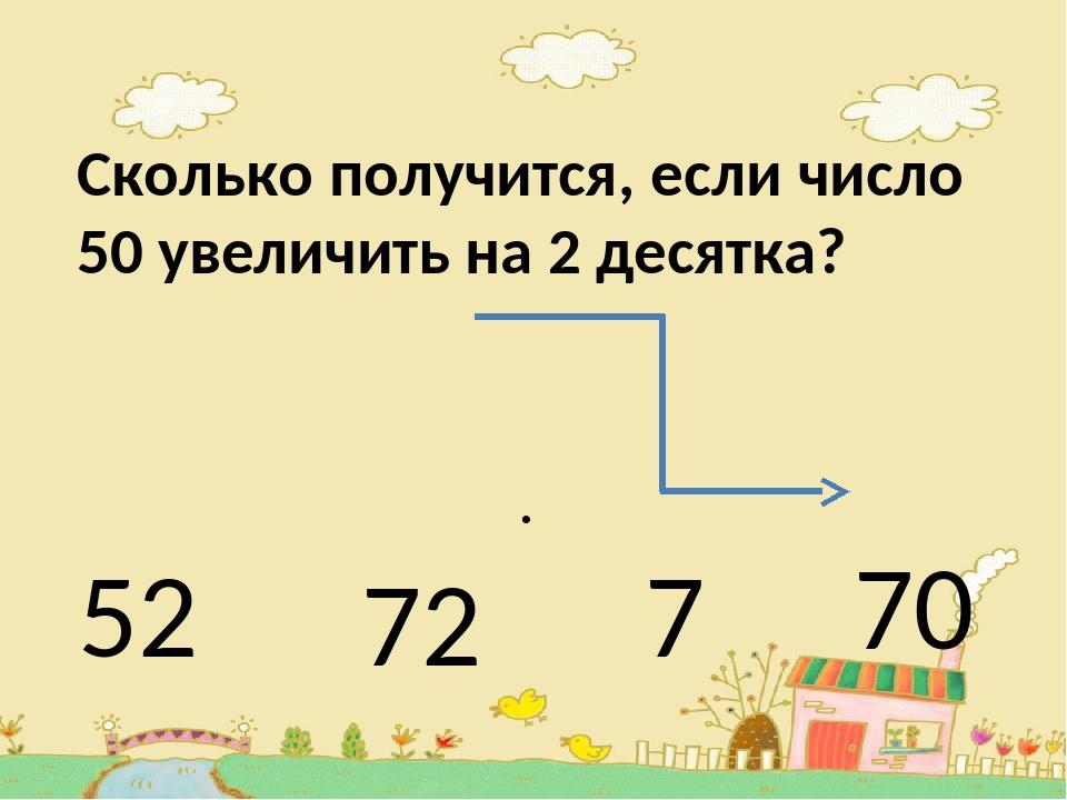 Сколько получится, если число 50 увеличить на 2 десятка? . 52 72 7 70