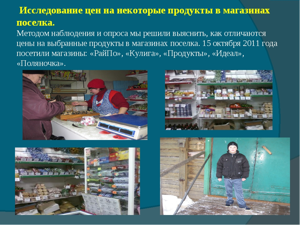 Исследование цен на некоторые продукты в магазинах поселка. Методом наблюден...