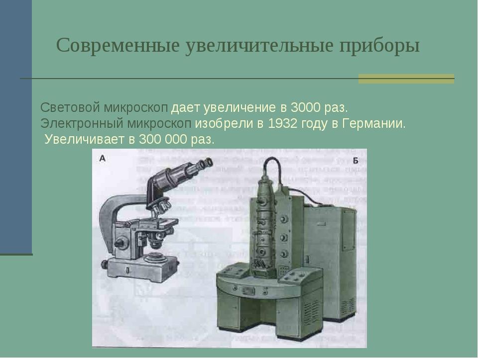 Современные увеличительные приборы Световой микроскоп дает увеличение в 3000...