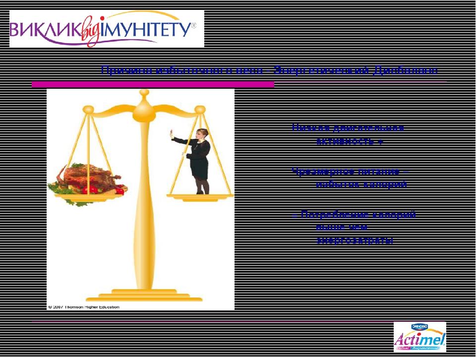 Причина избыточного веса - Энергетический Дисбаланс Низкая двигательная актив...