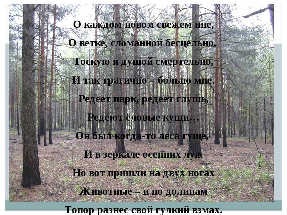 О каждом новом свежем пне, О ветке, сломанной бесцельно, Тоскую я душой смер...