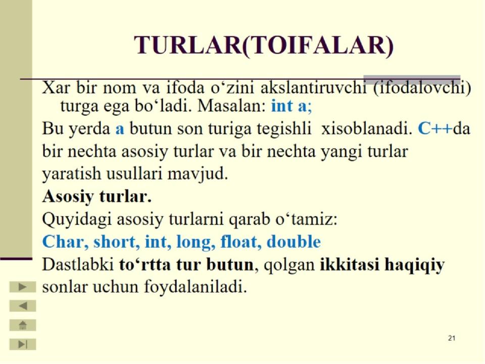 TURLAR(TOIFALAR)