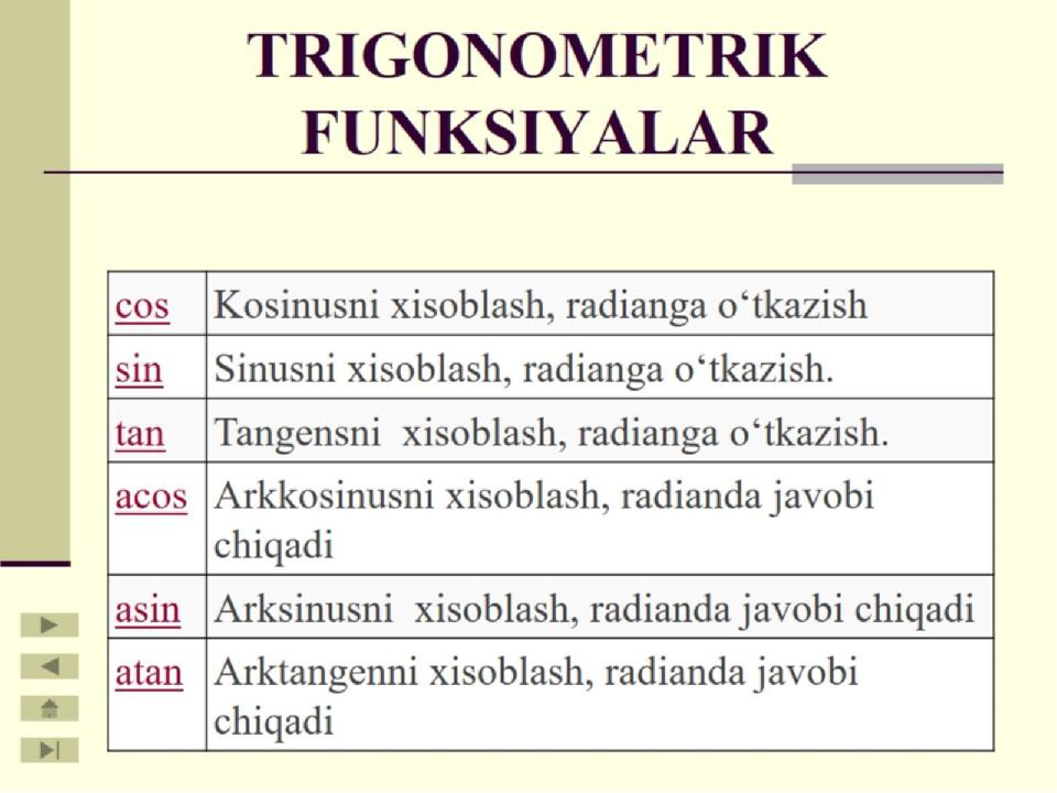 TRIGONOMETRIK FUNKSIYALAR