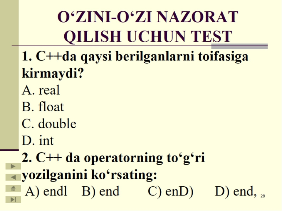 O'ZINI-O'ZI NAZORAT QILISH UCHUN TEST