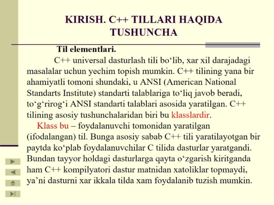 KIRISH. С++ TILLARI HAQIDA TUSHUNCHA