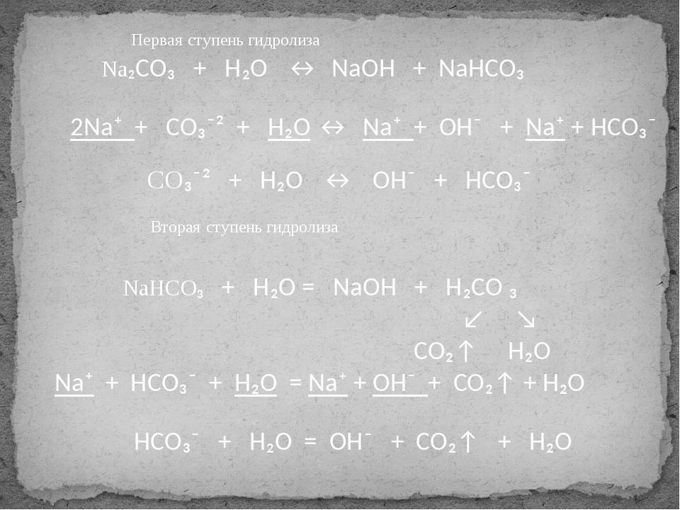 Na₂CO₃ + H₂O ↔ NaOH + NaHCO₃ 2Na⁺ + CO₃⁻² + H₂O ↔ Na⁺ + OH⁻ + Na⁺ + HCO₃⁻ CO...