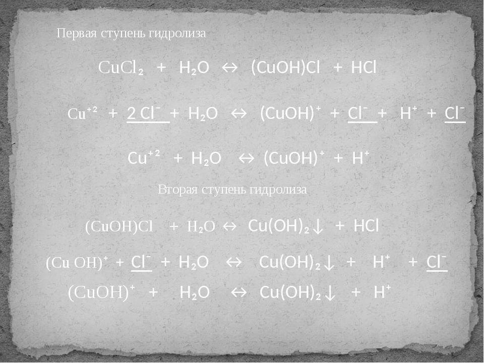 CuCl₂ + H₂O ↔ (CuOH)Cl + HCl Cu⁺² + 2 Cl⁻ + H₂O ↔ (CuOH)⁺ + Cl⁻ + H⁺ + Cl⁻ C...
