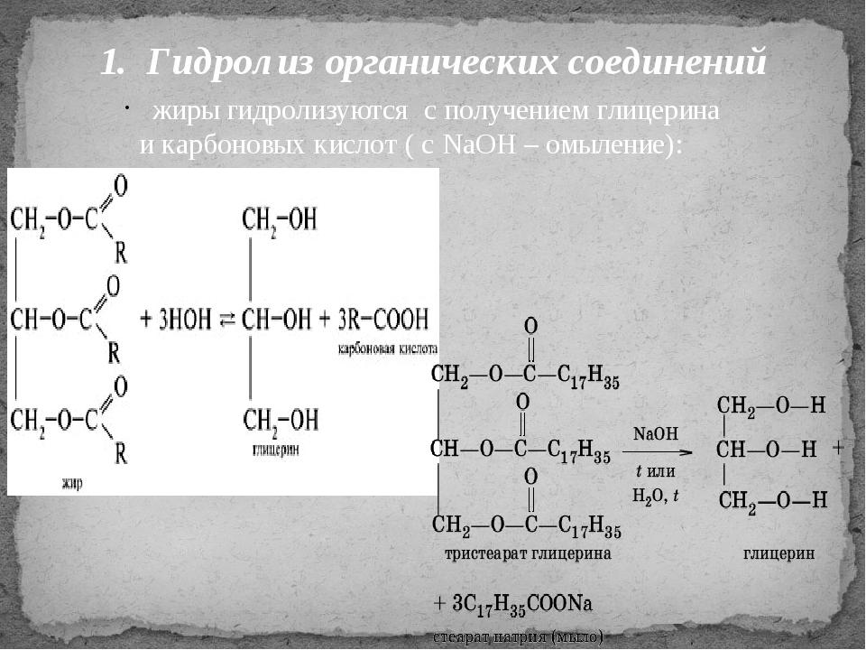 1. Гидролиз органических соединений жиры гидролизуются с получением глицерина...