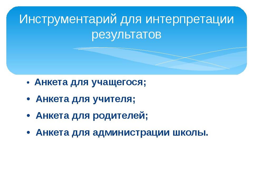 • Анкета для учащегося; • Анкета для учителя; • Анкета для родителей; • А...