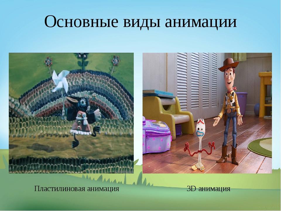 Основные виды анимации Пластилиновая анимация 3D анимация