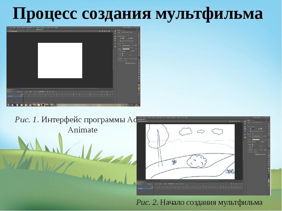 Рис. 1. Интерфейс программы Adobe Animate Рис. 2. Начало создания мультфильма...