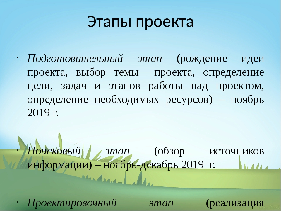 Этапы проекта Подготовительный этап (рождение идеи проекта, выбор темы проект...