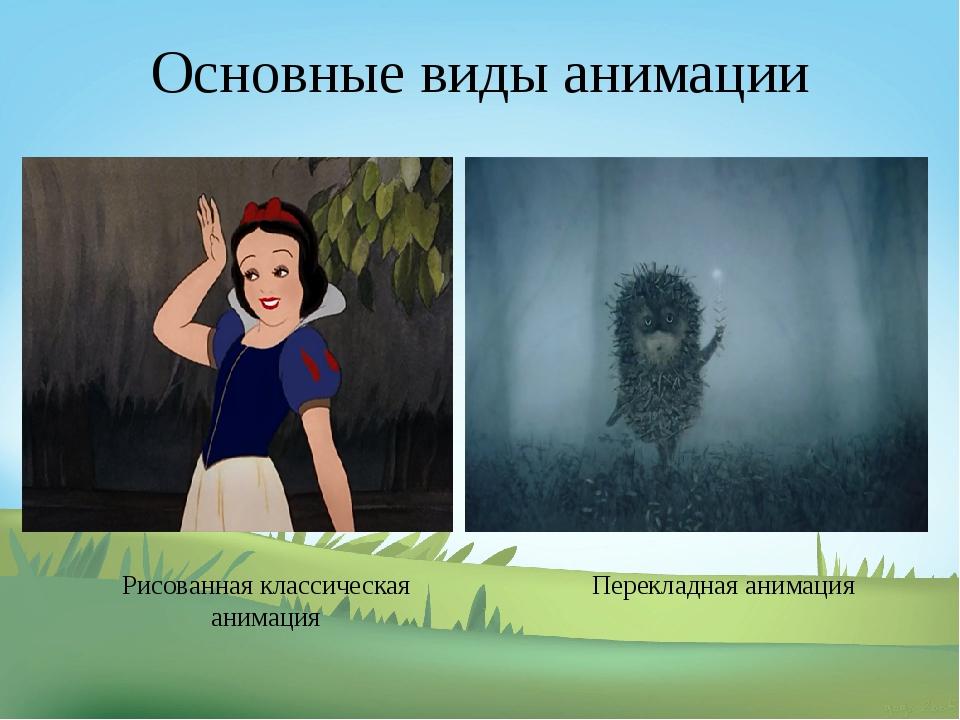 Основные виды анимации Рисованная классическая анимация Перекладная анимация