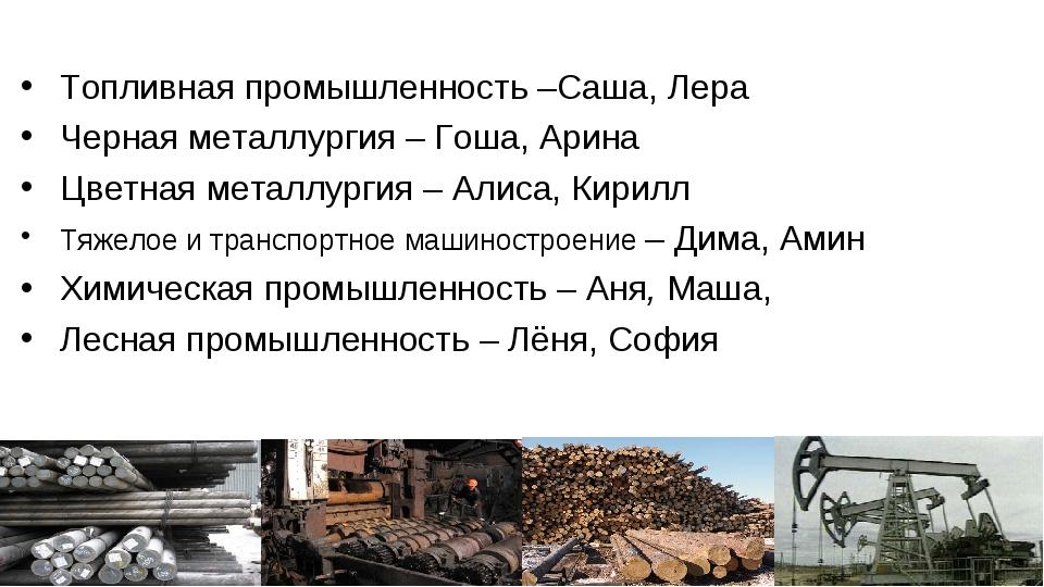 Топливная промышленность –Саша, Лера Черная металлургия – Гоша, Арина Цветная...